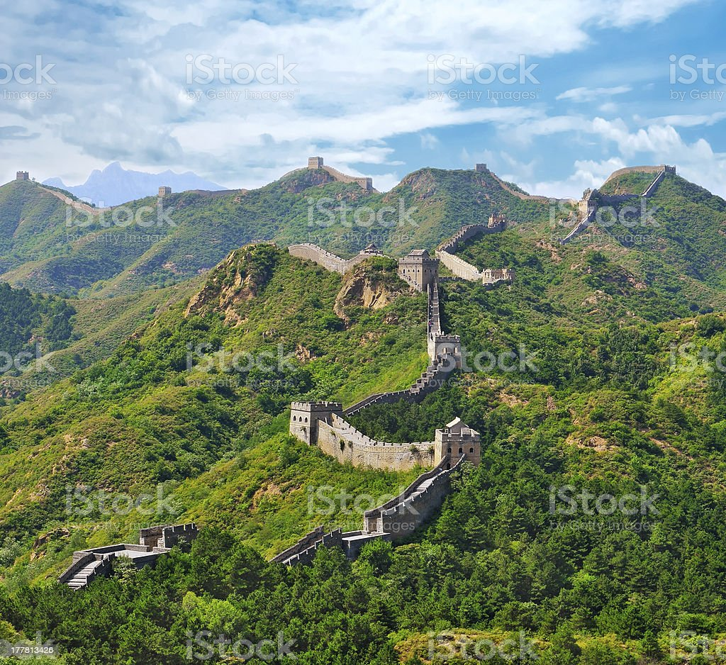 Great Wall of China in summer royalty-free stock photo
