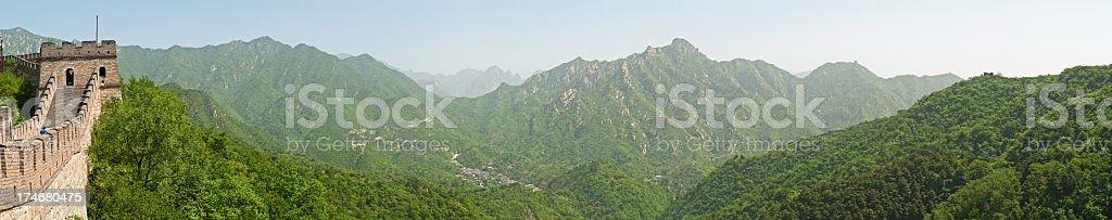 Great Wall of China mega panorama XXXL green mountains watchtower royalty-free stock photo