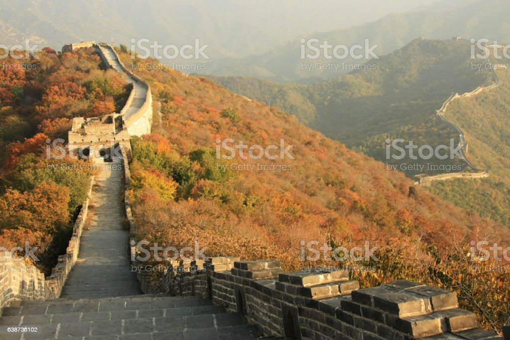 Great Wall of China on the hills stock photo