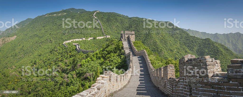 Great wall of China panorama battlements at Badaling outside Beijing stock photo