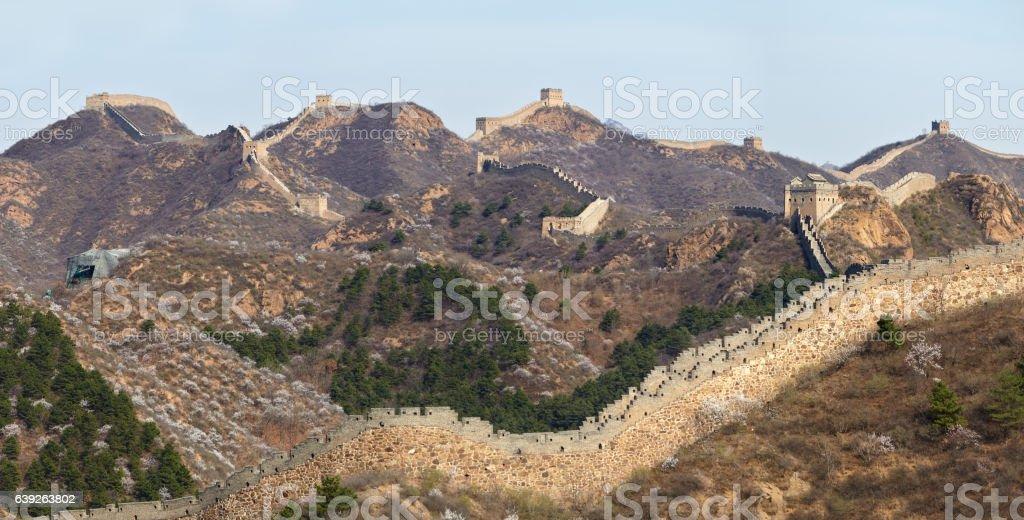 Great Wall of China panorama view at Jinshanling Section stock photo