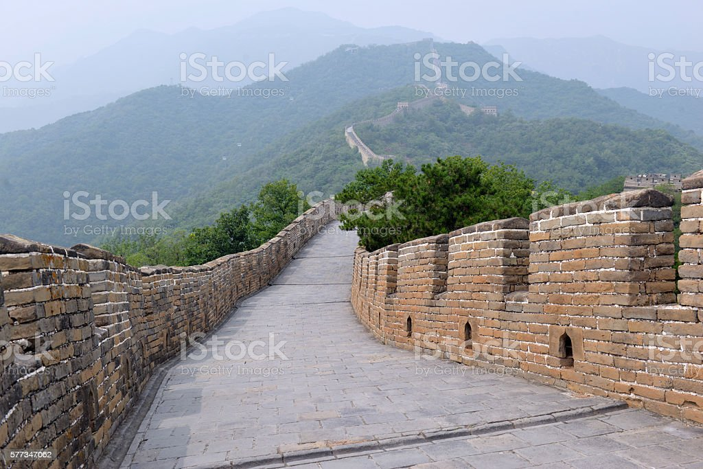 Great Wall of China, showing air pollution and smog stock photo