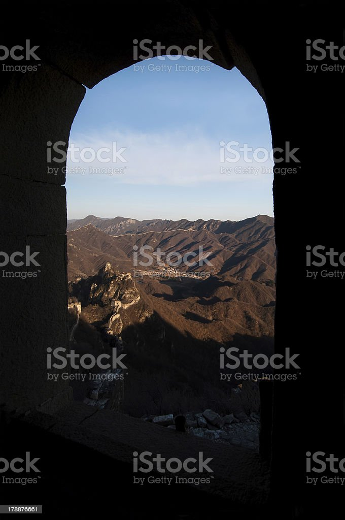 Great Wall of China snaking into the distance, Jiankou, Beijing royalty-free stock photo