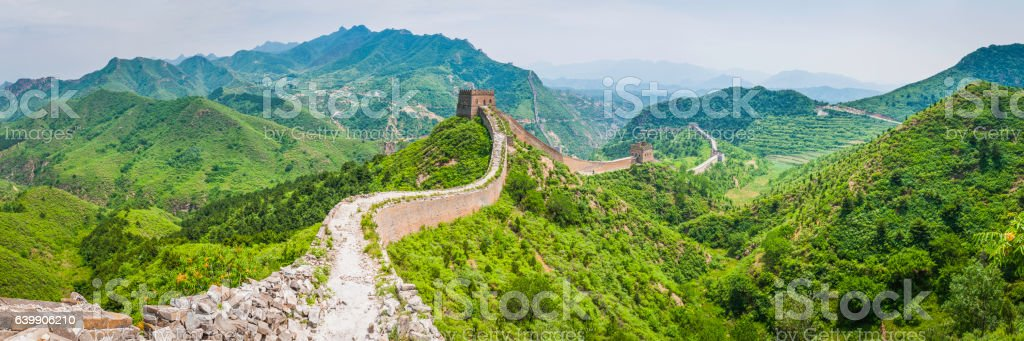Great Wall of China watch towers marching over mountain crests stock photo