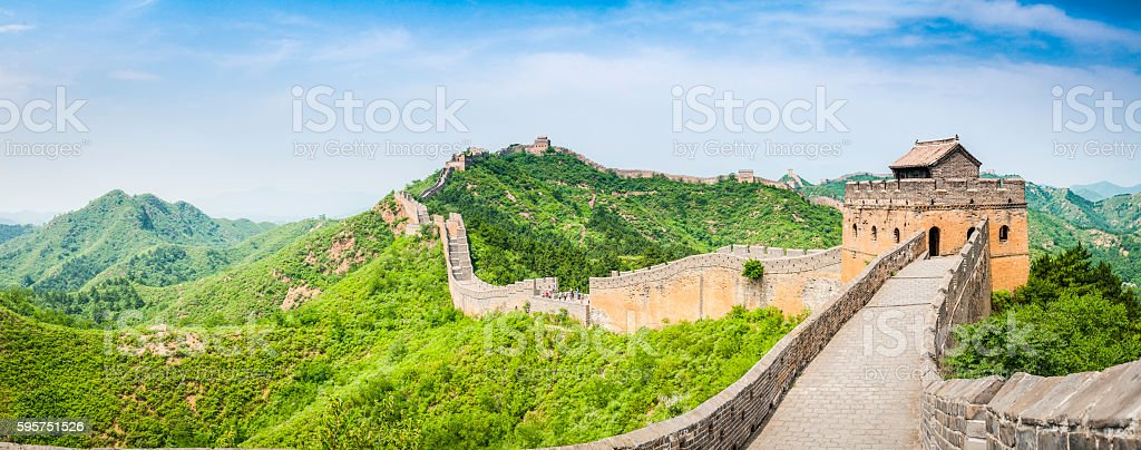 Great Wall of China watchtowers ramparts green hills outside Beijing stock photo