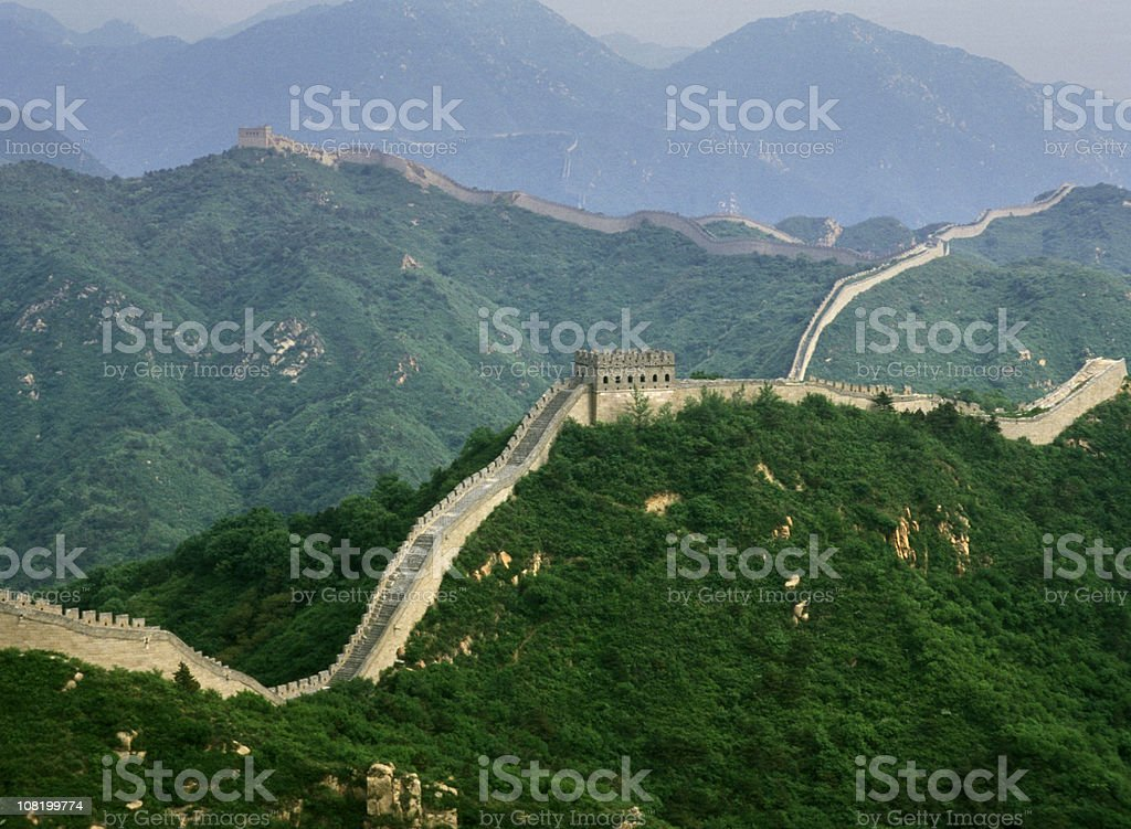 Great Wall of China Winding Over Mountain Tops Near Beijing royalty-free stock photo