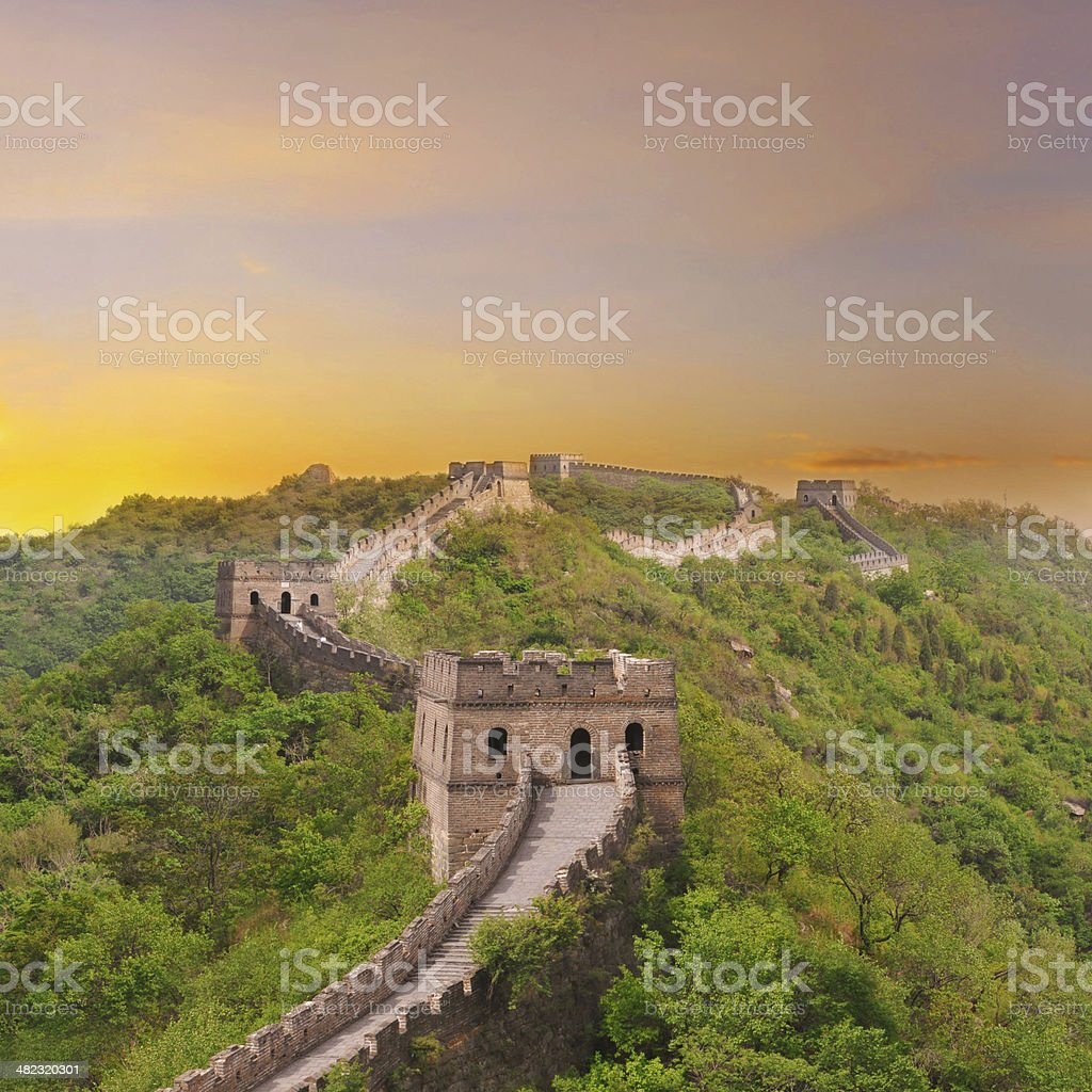 Great Wall of China with beautiful sky during sunset stock photo