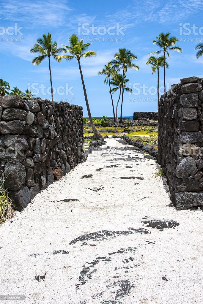 Great wall of Puʻuhonua o Hōnaunau stock photo