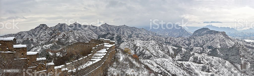 Great Wall panorama in the snow in Beijing, China. stock photo