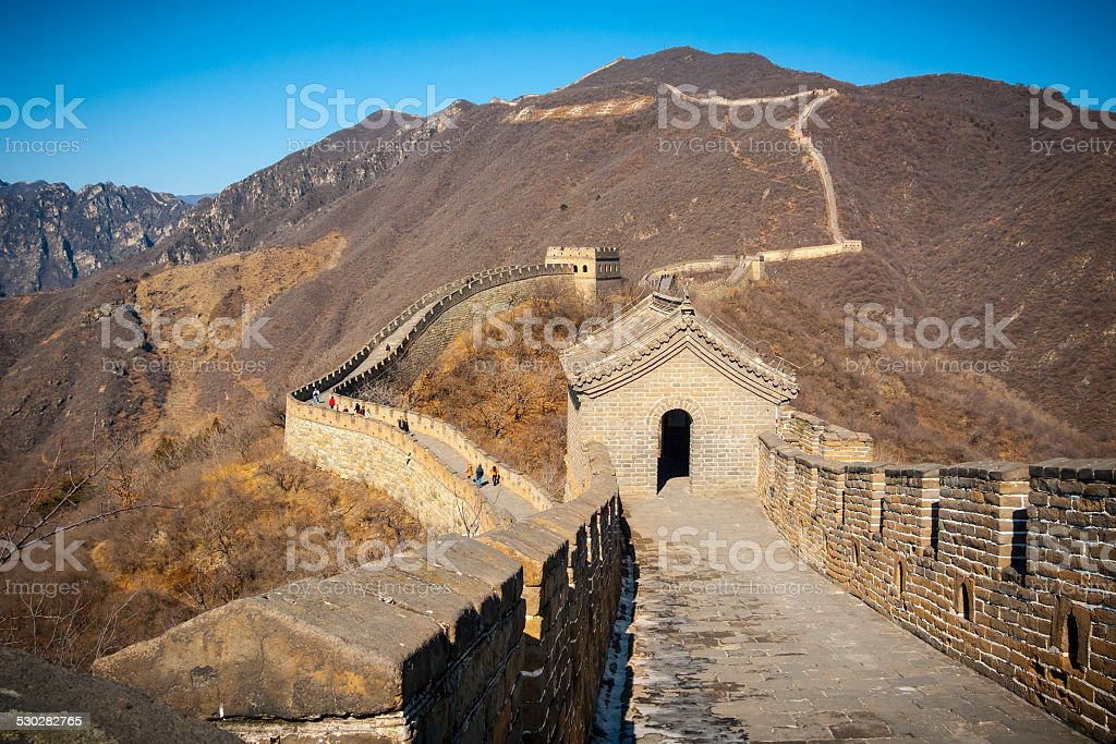 Great Wall tower high angle stock photo