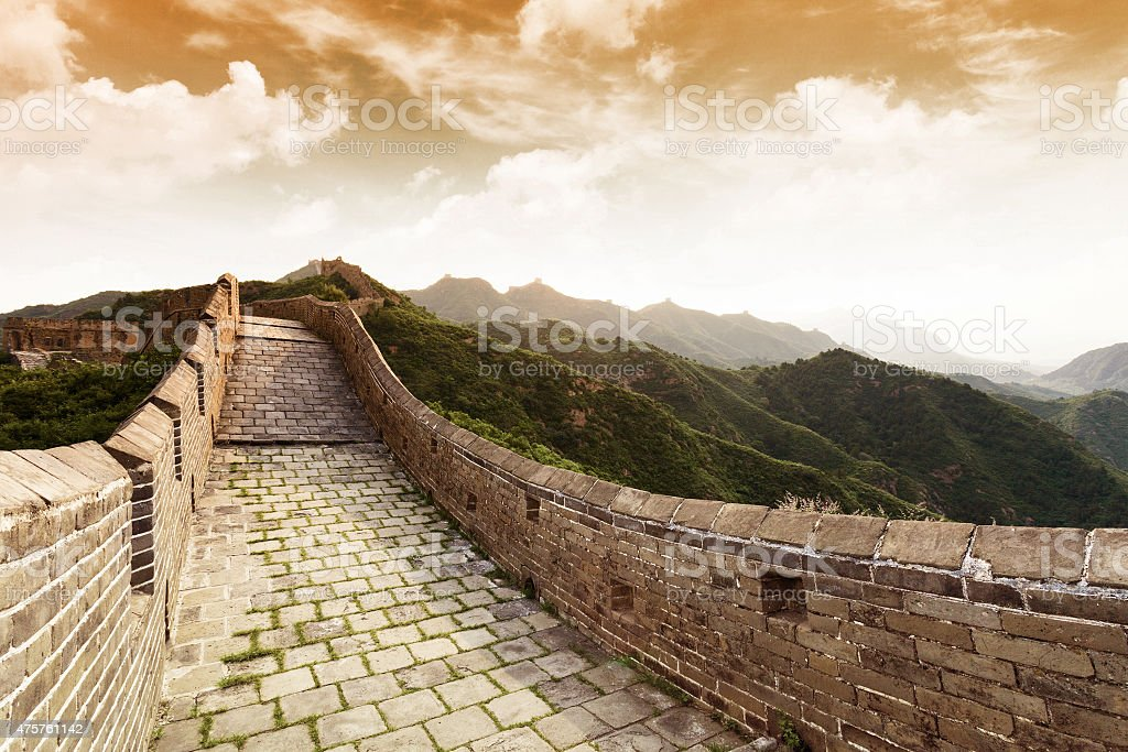 Great wall under sunshine during sunset stock photo
