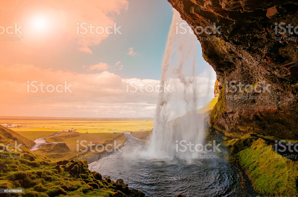Great waterfall Skogafoss in south of Iceland stock photo