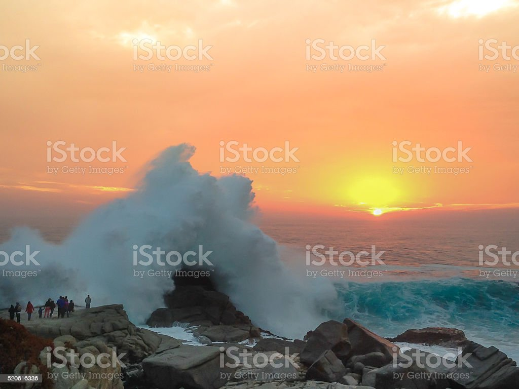 Great Wave and a Beautiful Sunset stock photo