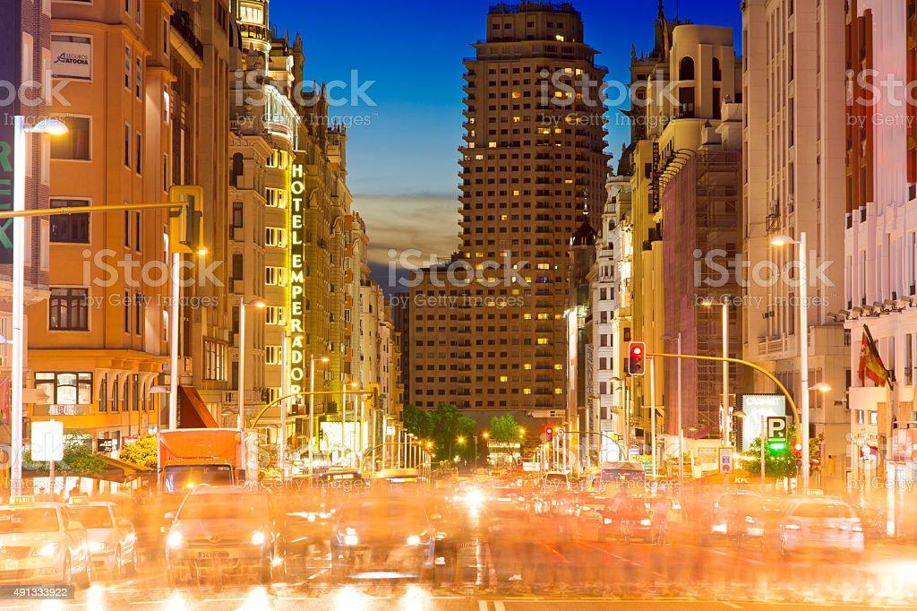 Gran Via in Madrid stock photo