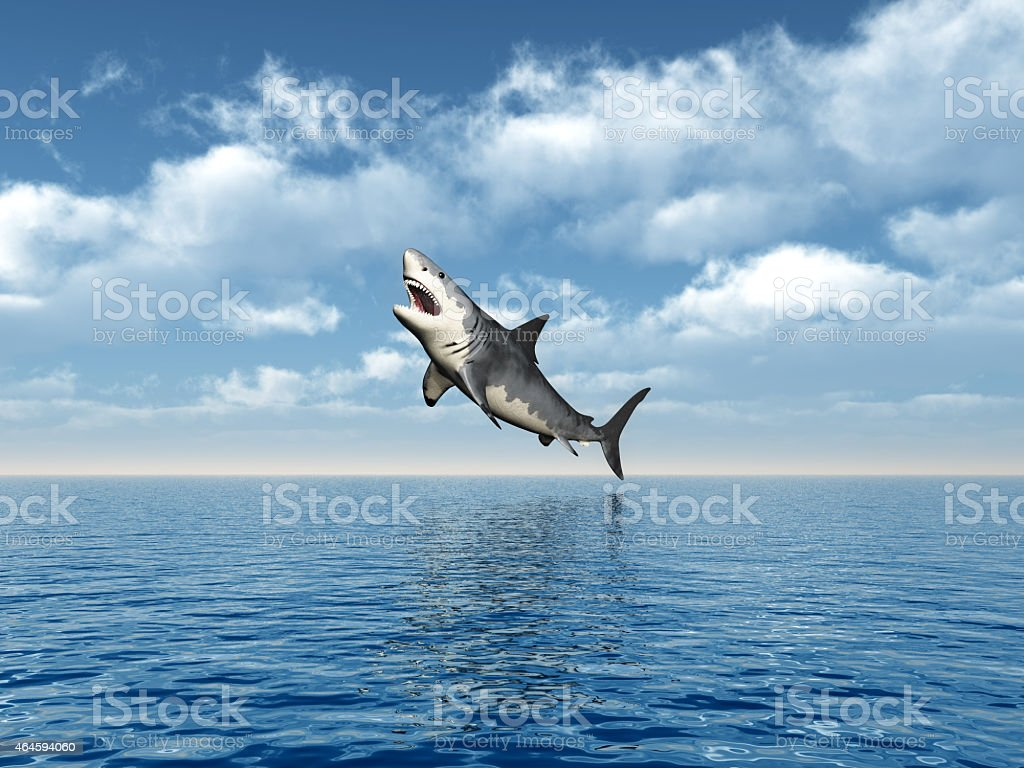 Great White Shark Jumping vector art illustration