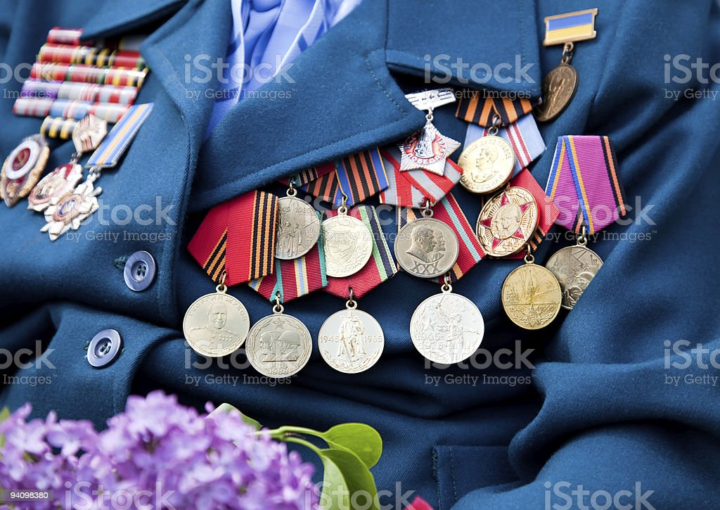 Great World War veteran with medals / ex USSR stock photo