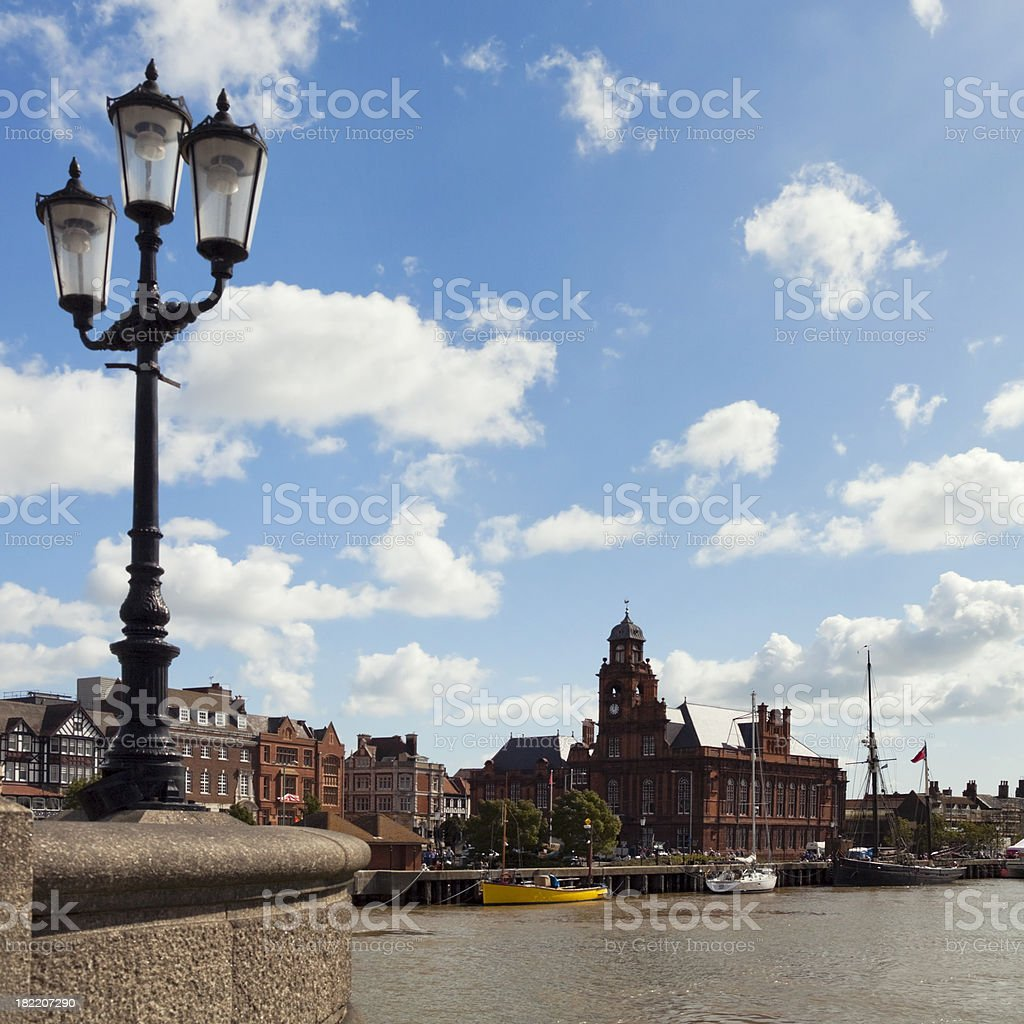 Great Yarmouth quay and Town Hall royalty-free stock photo