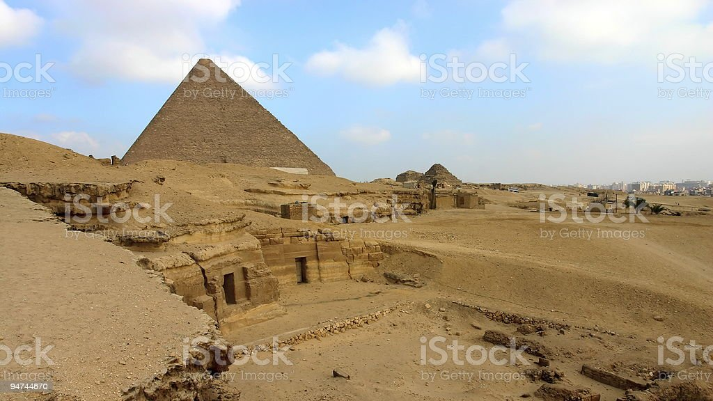 Greate Pyramid with Khafre funerary complex in foreground royalty-free stock photo