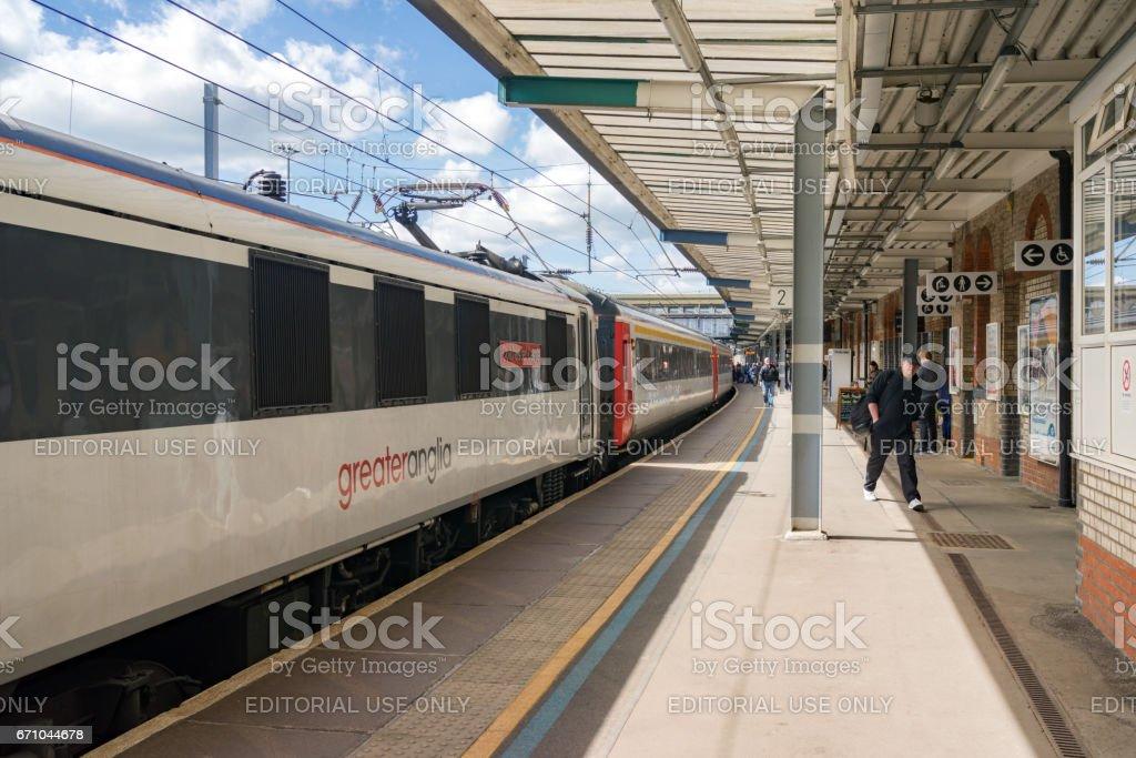 Greater Anglia Intercity train at Ipswich station stock photo