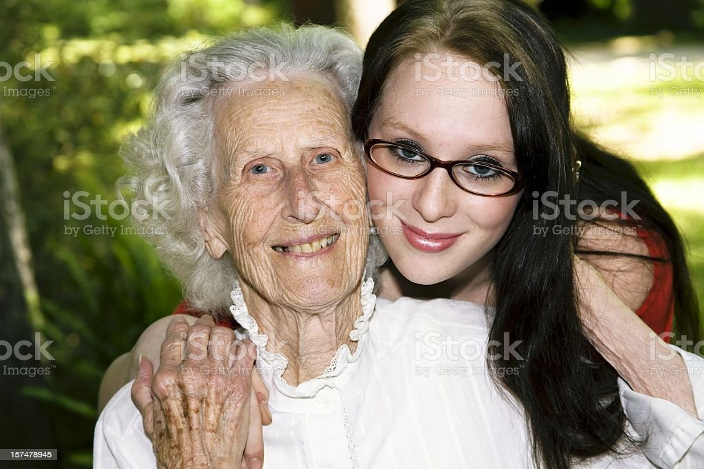 Great-grandmother and granddaughter. Multi-generation relationship. stock photo