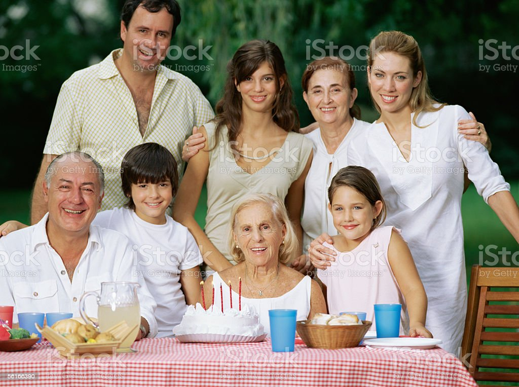 Great-grandmother's birthday party royalty-free stock photo