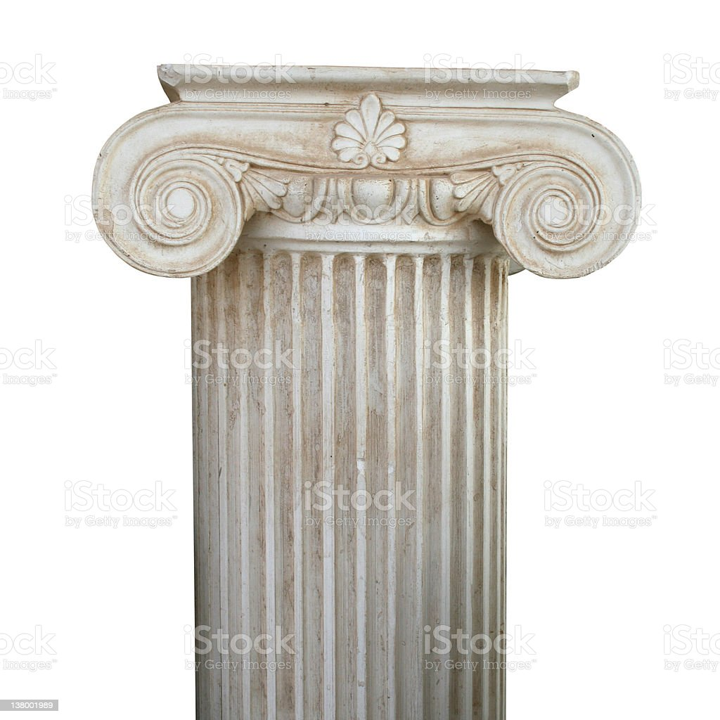 A Grecian style scrolled column stock photo