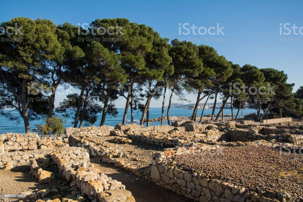 Greco roman ruins of Emporda stock photo