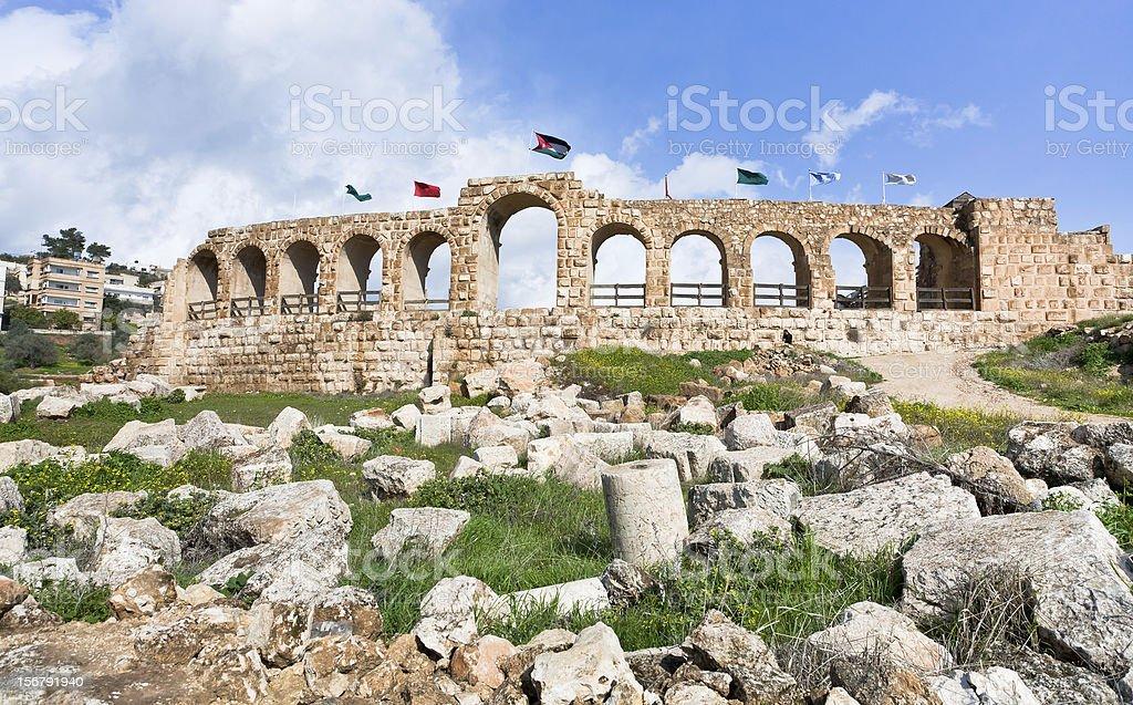 Greco-Roman city walls of Gerasa Jerash stock photo