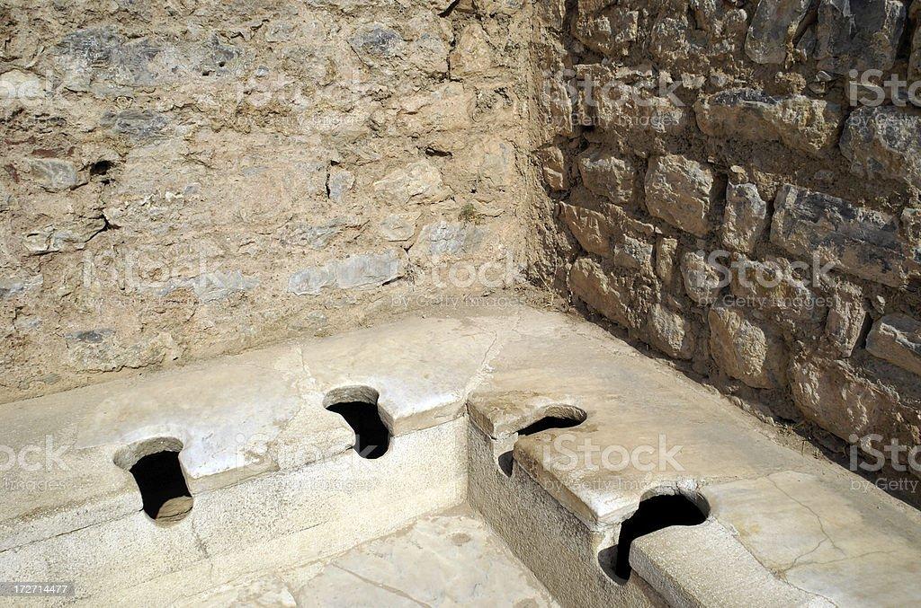 Greco-Roman Toilets Ephesus Turkey royalty-free stock photo