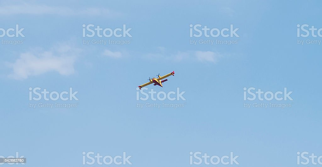 Greece 25 June 2016. Canadair returning from N. Marmaras fire stock photo