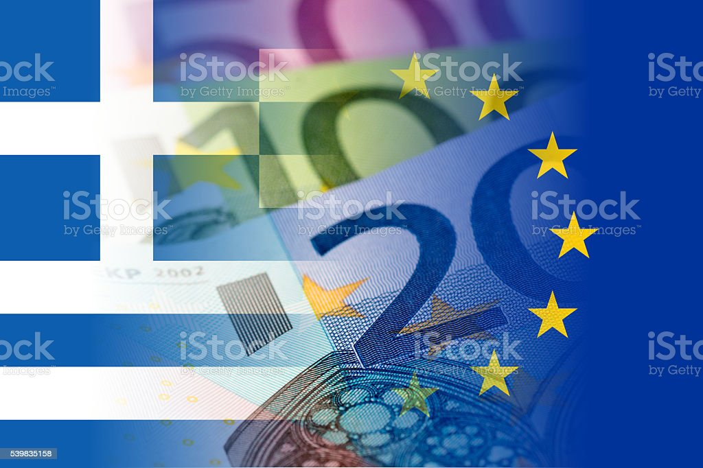 greece and eu flags with euro banknotes stock photo