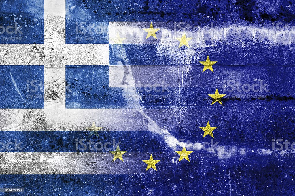Greece and European Union Flag painted on grunge wall stock photo