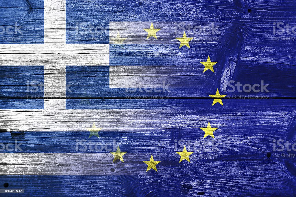 Greece and European Union flag painted on old wood plank royalty-free stock photo