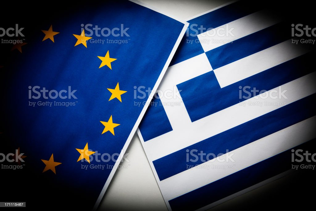 Greece and European Union flag stock photo