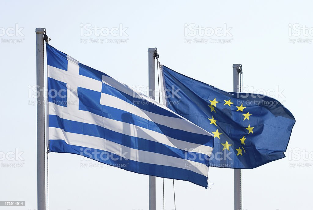 Greece and European Union Flags royalty-free stock photo