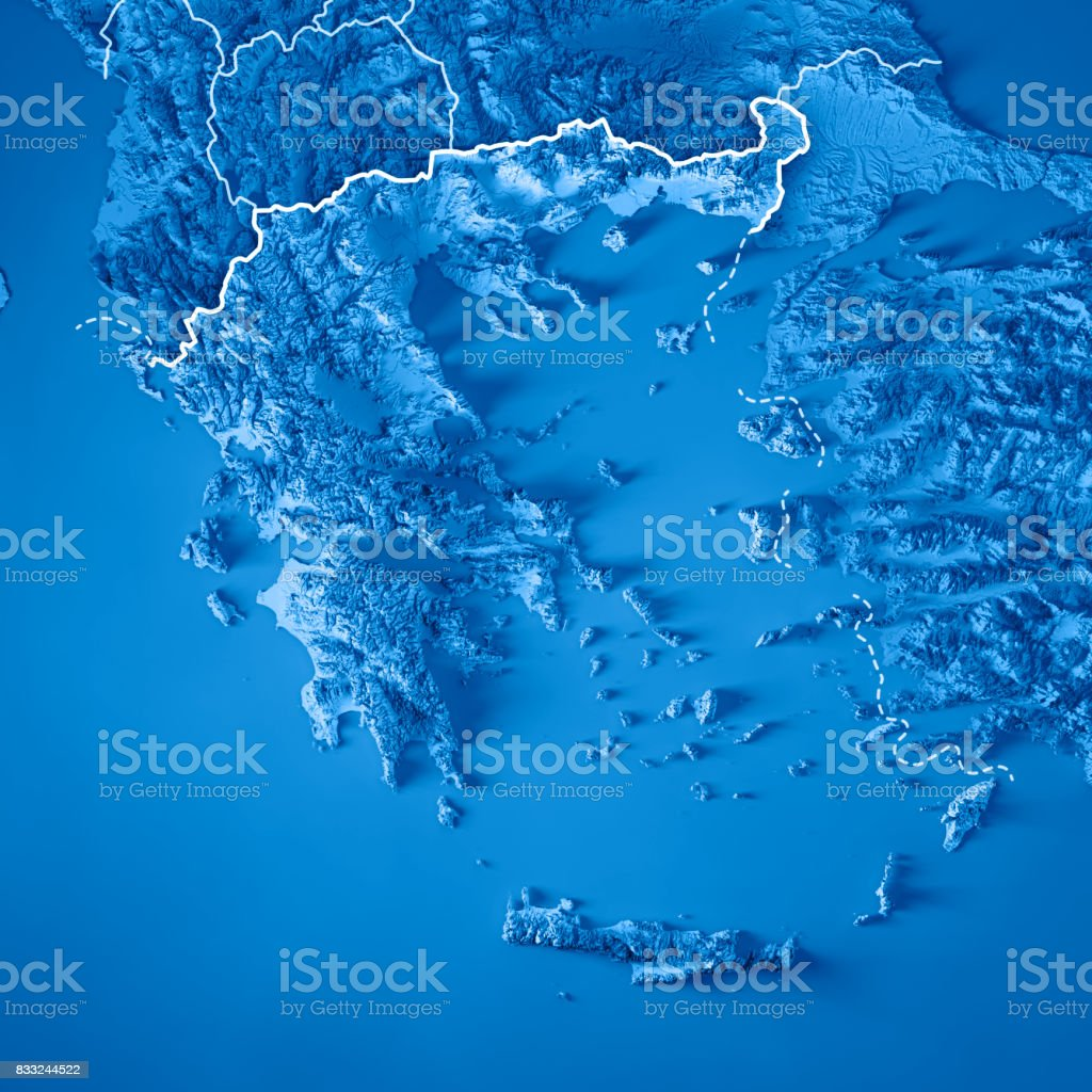 Greece Country 3D Render Topographic Map Blue Border stock photo