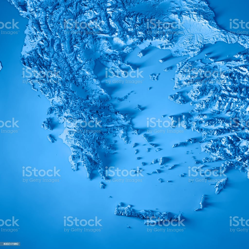 Greece Country 3D Render Topographic Map Blue stock photo