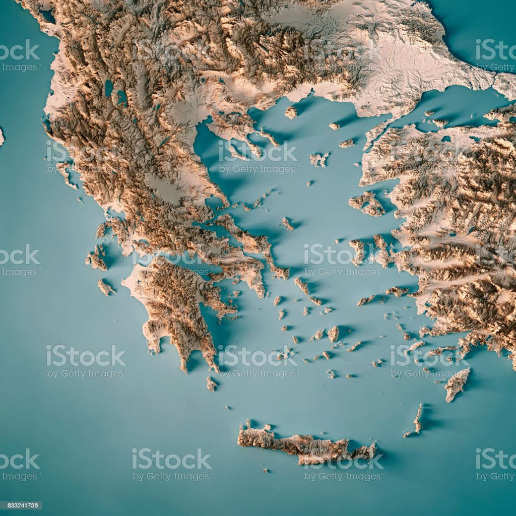 Greece Country 3D Render Topographic Map Neutral stock photo