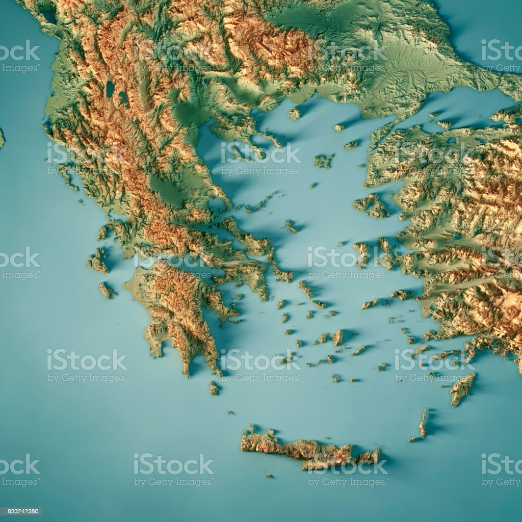 Greece Country 3D Render Topographic Map stock photo