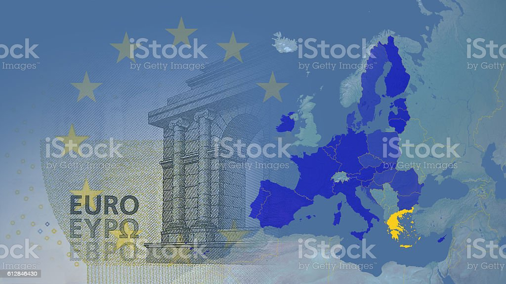 Greece (after brexit) Eurozone 2017 version. stock photo