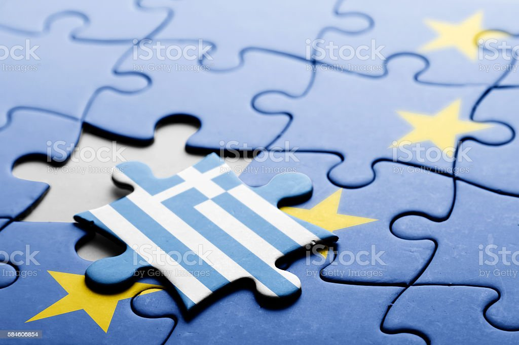 Greece. Exit from European Union concept puzzle stock photo