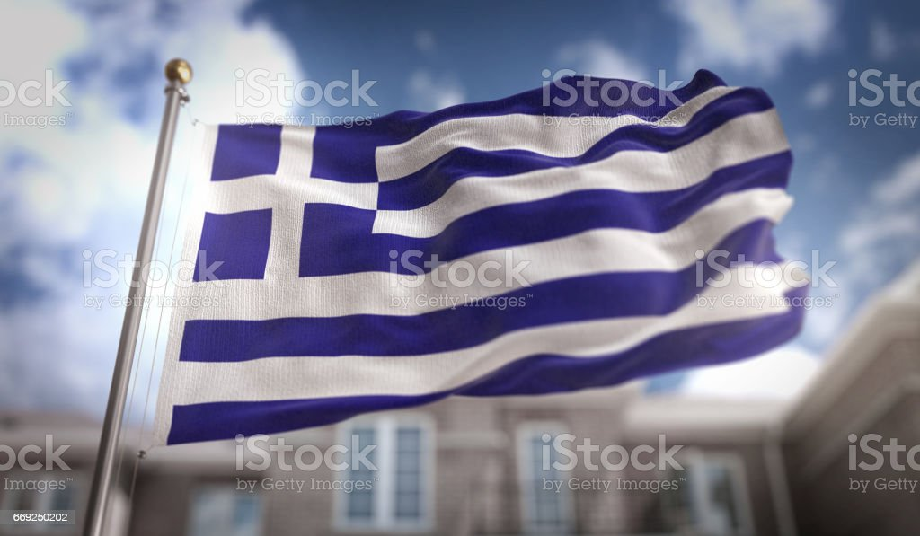 Greece Flag 3D Rendering on Blue Sky Building Background stock photo