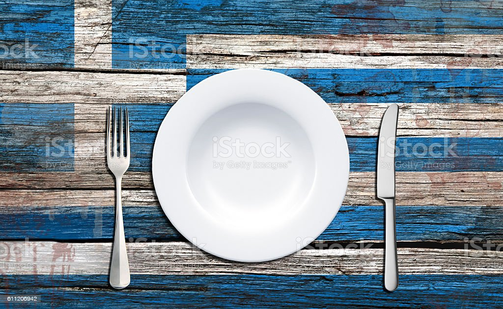 Greece flag and food concept stock photo