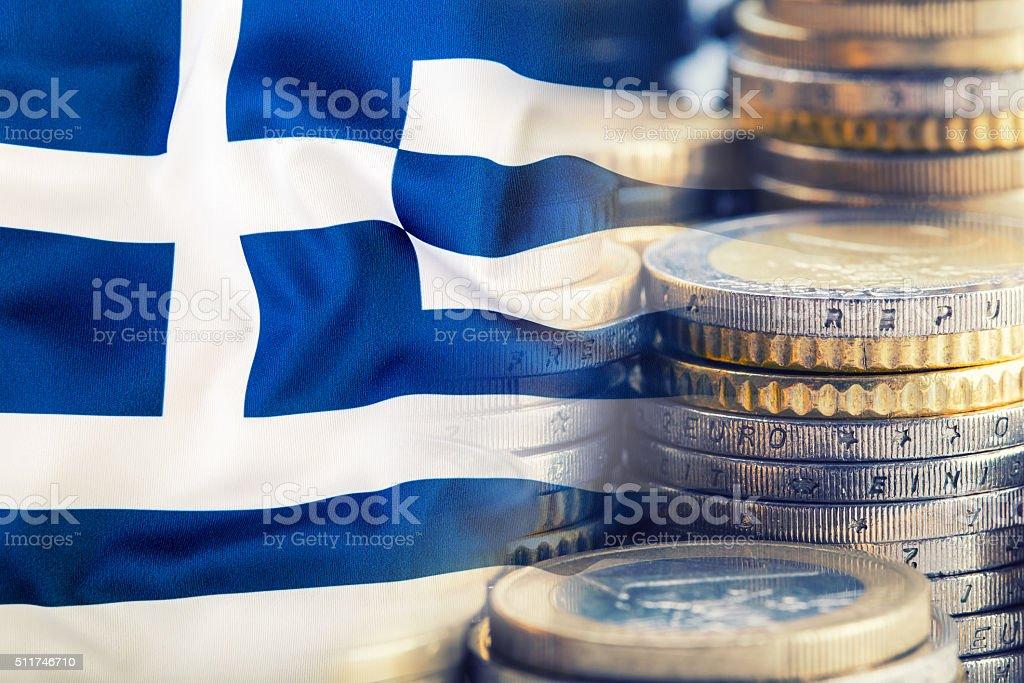 Greece flag. Euro money. Euro currency. Euro money background stock photo