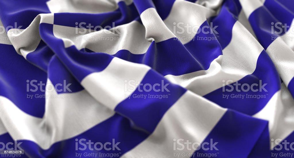Greece Flag Ruffled Beautifully Waving Macro Close-Up Shot stock photo