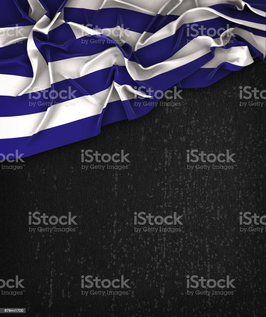 Greece Flag Vintage on a Grunge Black Chalkboard With Space For Text stock photo