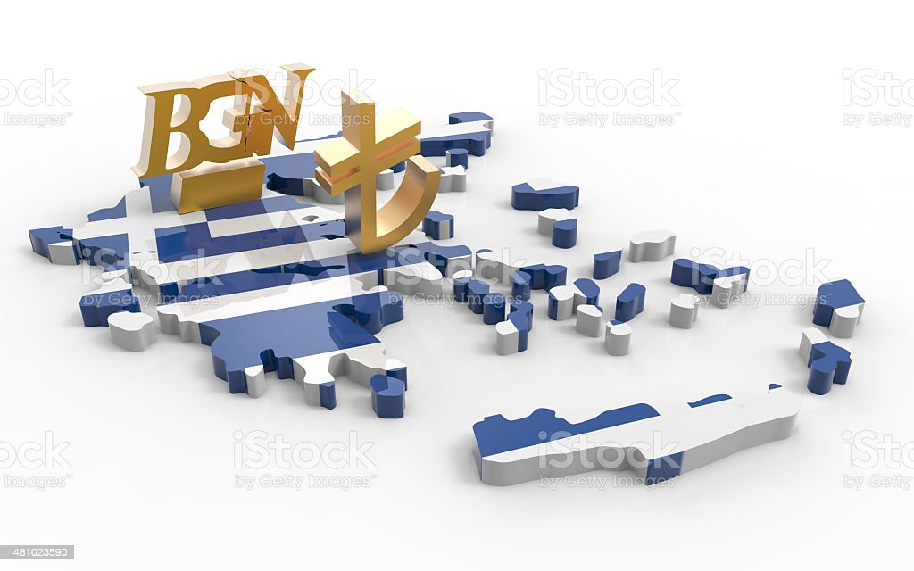Greece flag with Turkish Lira and Bulgarian Lev stock photo