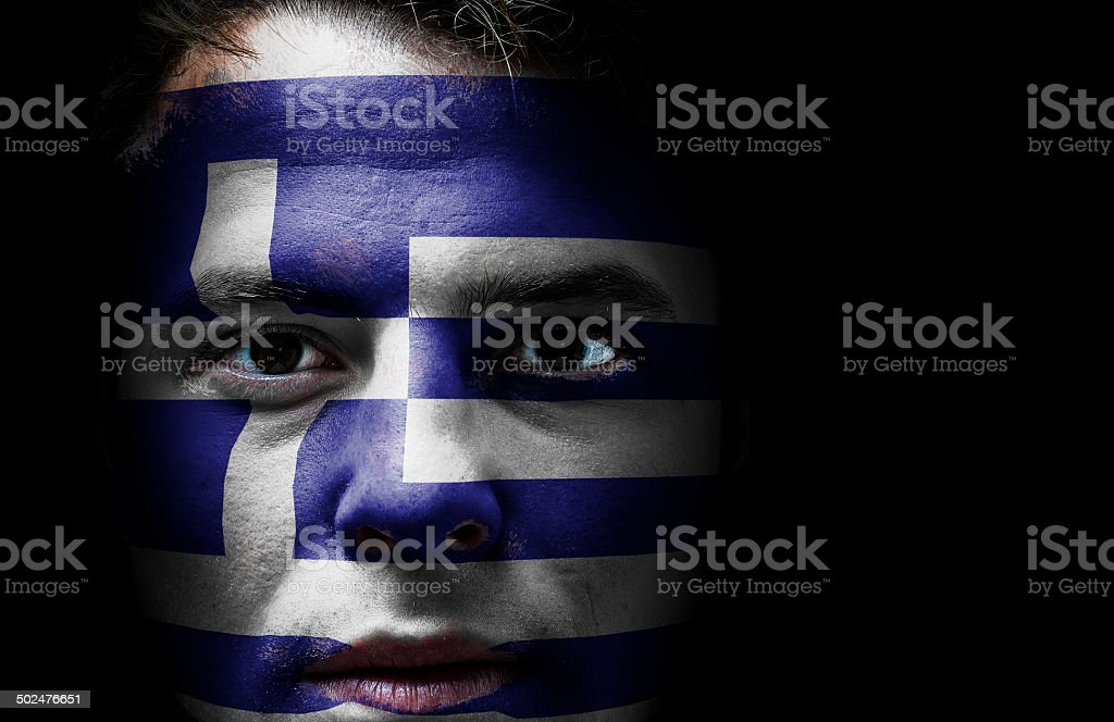 Greece, Greek flag on face royalty-free stock photo