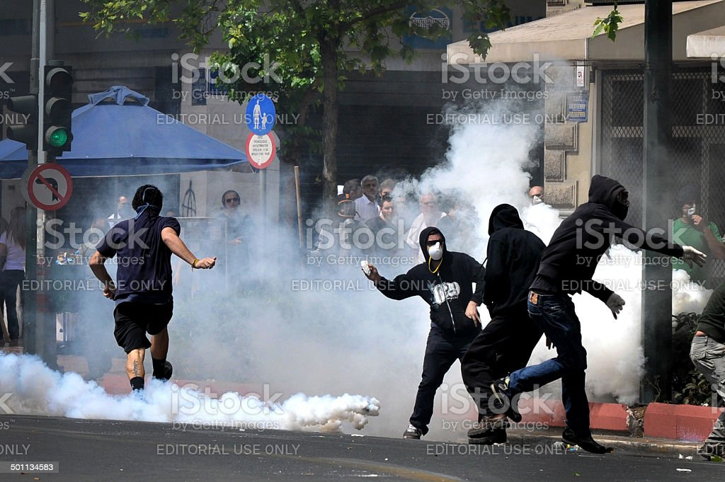 Greece in crisis stock photo