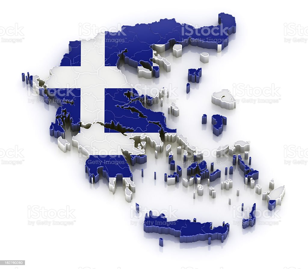 Greece map with flag royalty-free stock photo